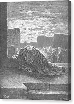 Ezra In Prayer Canvas Print by Gustave Dore