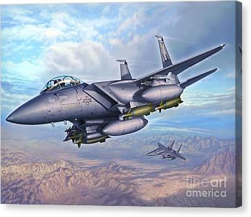 F-15e Desert Eagles Canvas Print by Stu Shepherd