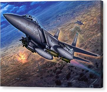 F-15e Strike Eagle Scud Busting Canvas Print by Stu Shepherd
