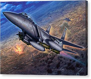 F-15e Strike Eagle Scud Busting Canvas Print by Stu Shepherd