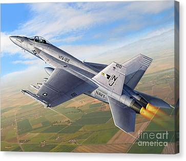 F-18e Over The Valley Canvas Print by Stu Shepherd