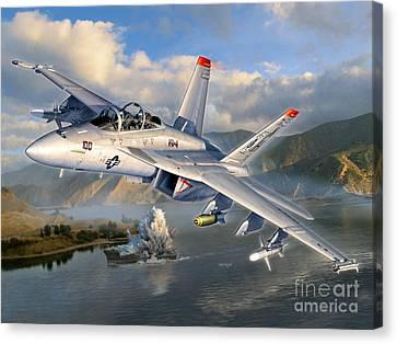 F-18f Stopping Maritime Terror Canvas Print by Stu Shepherd