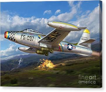 F-84e Thunderstrike Canvas Print by Stu Shepherd