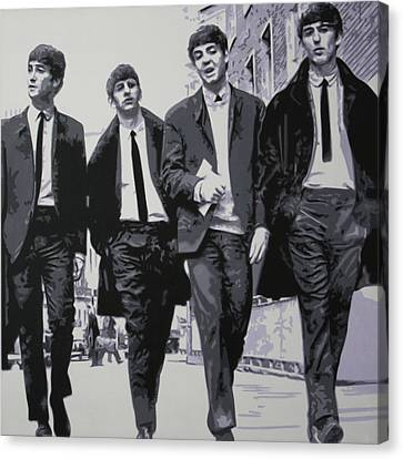 Fab Four Canvas Print by Luis Ludzska