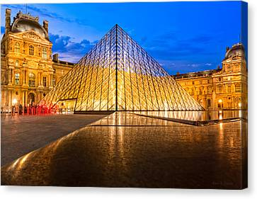 Fabulous Louvre Pyramid At Night Canvas Print by Mark E Tisdale