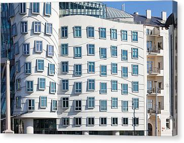 Facade Of Dancing House Or Ginger Canvas Print by Panoramic Images