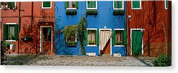 Facade Of Houses, Burano, Veneto, Italy Canvas Print by Panoramic Images