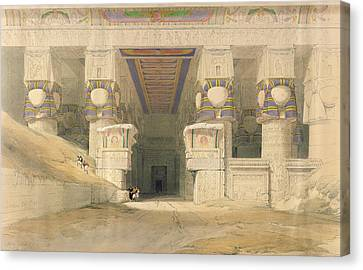 Facade Of The Temple Of Hathor, Dendarah, From Egypt And Nubia, Engraved By Louis Haghe 1806-85 Canvas Print by David Roberts