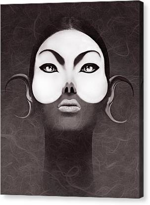 Face Moon Canvas Print by Yosi Cupano