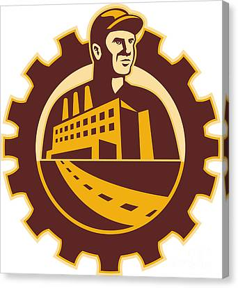 Factory Worker Mechanic With Cog Building Canvas Print by Aloysius Patrimonio