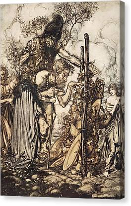 Fafner Hey! Come Hither, And Stop Canvas Print by Arthur Rackham