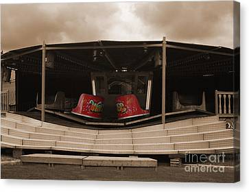 Fairground Waltzer In Sepia Canvas Print by Terri Waters