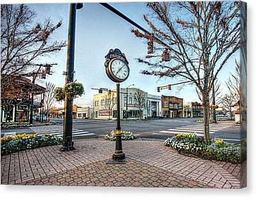 Fairhope Clock And 4 Corners Canvas Print by Michael Thomas