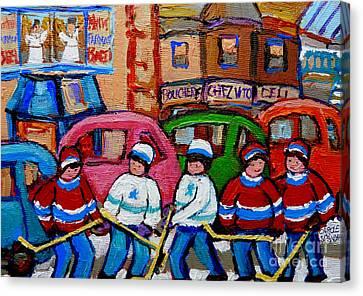 Fairmount Bagel Street Hockey Game Canvas Print by Carole Spandau