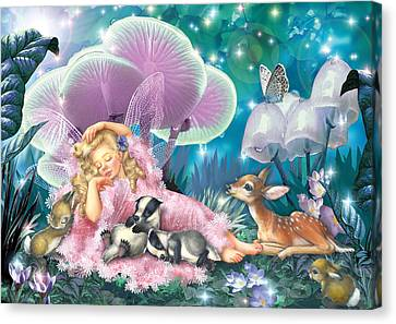 Fairy Asleep And Baby Badgers Canvas Print by Zorina Baldescu