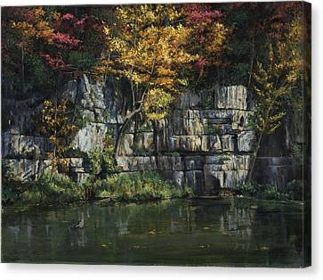 Fall Bluffs - Ozark Nat'l Scenic Rivers Canvas Print by Don  Langeneckert