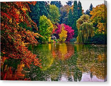 Fall By The Water Canvas Print by Rae Berge