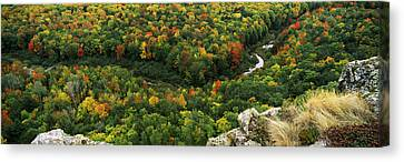 Fall Colors On Mountains Near Lake Canvas Print by Panoramic Images