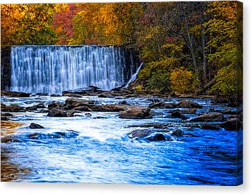 Fall Comes To Vickery Creek In Roswell Canvas Print by Mark E Tisdale