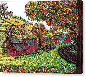 Fall Farm Scene Canvas Print by Beverly Farrington