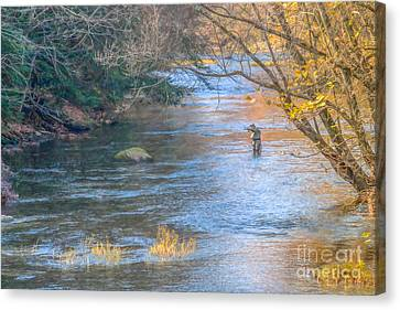 Fall Fly Fisherman Canvas Print by Randy Steele