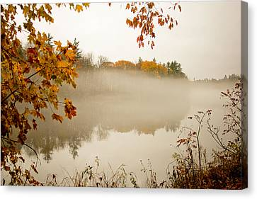 Fall Foggy Day  Canvas Print by Allan Millora