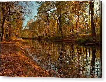 Fall Foliage Along The Delaware Canal Canvas Print by Adam Jewell