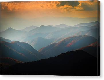 Fall Foliage Ridgelines Great Smoky Mountains Painted  Canvas Print by Rich Franco