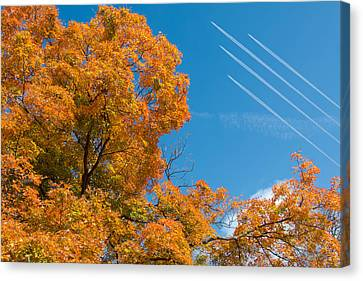 Fall Foliage With Jet Planes Canvas Print by Tom Mc Nemar