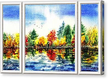 Fall Forest Window View Canvas Print by Irina Sztukowski