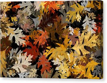 Fall Oak Leaf Abstract Art Canvas Print by Christina Rollo