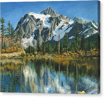 Fall Reflections - Cascade Mountains Canvas Print by Mary Ellen Anderson