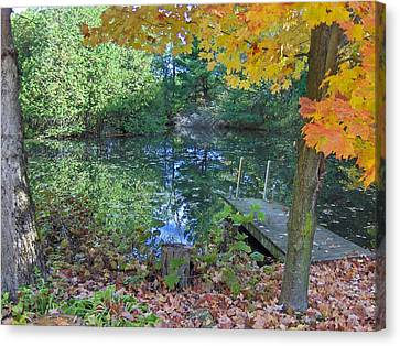 Fall Scene By Pond Canvas Print by Brenda Brown