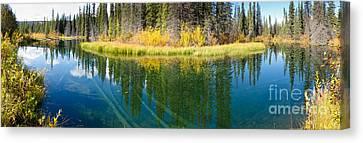 Fall Sky Mirrored On Calm Clear Taiga Wetland Pond Canvas Print by Stephan Pietzko