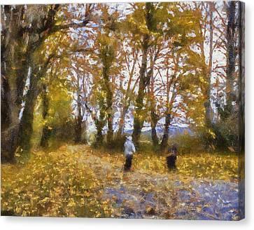Fall Stroll Canvas Print by Barry Jones