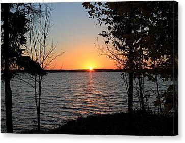 Fall Sunset At Long Lake Canvas Print by Rhonda Humphreys