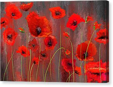 Fallen Memoirs- Red And Gray Art Canvas Print by Lourry Legarde