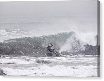 Falling Surfer In Falling Snow Canvas Print by Tim Grams