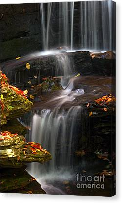 Falls And Fall Leaves Canvas Print by Paul W Faust -  Impressions of Light