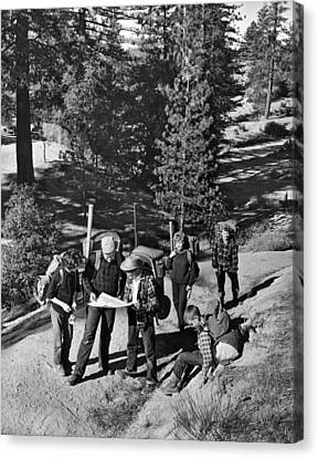 Family Backpacking Trip Canvas Print by Underwood Archives