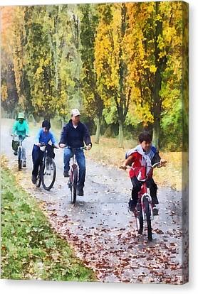 Family Bike Ride Canvas Print by Susan Savad