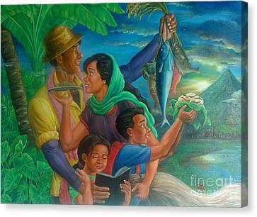 Family Bonding In Bicol Canvas Print by Manuel Cadag