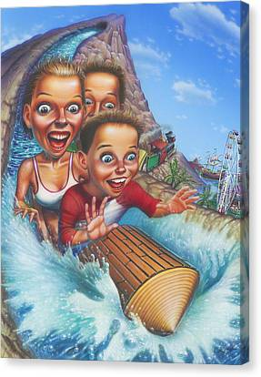 Family Enjoying Water Slide - Amusement Park Ride - Log Ride Canvas Print by Walt Curlee