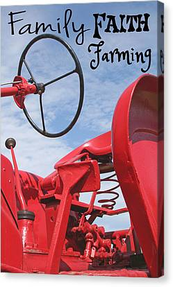 Family Faith Farming Red Tractor Canvas Print by Heather Allen