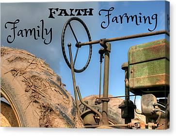 Family Faith Farming Tractor Canvas Print by Heather Allen
