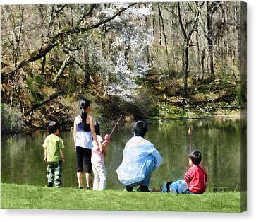 Family Fishing Canvas Print by Susan Savad