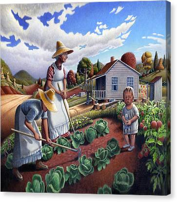 Family Garden Country Farm Landscape - Square Format Canvas Print by Walt Curlee