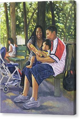 Family In The Park Canvas Print by Colin Bootman