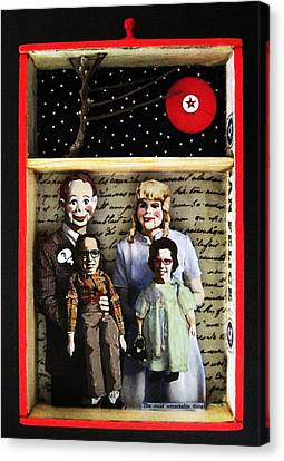 Family Mixed Media Collage Original Art Canvas Print by Linda Apple