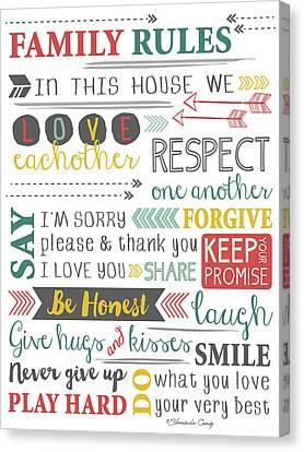 Family Rules Art Canvas Print by Craig, Shawnda